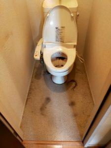 掃除前の超汚いトイレ便器を漂白剤を使って掃除